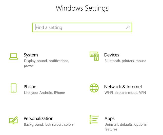 بخش تنظیمات ویندوز