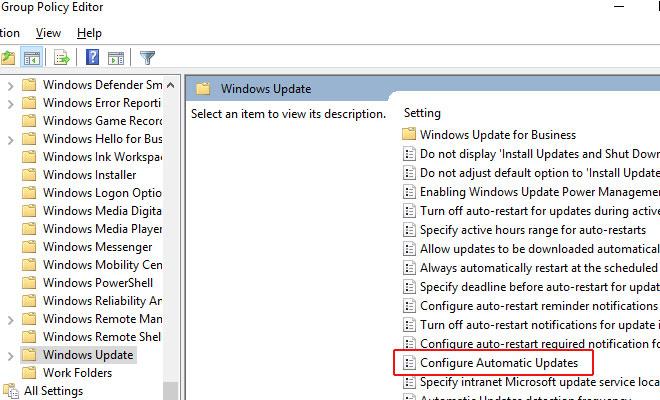 باز کردن پنجره configure automatic updates