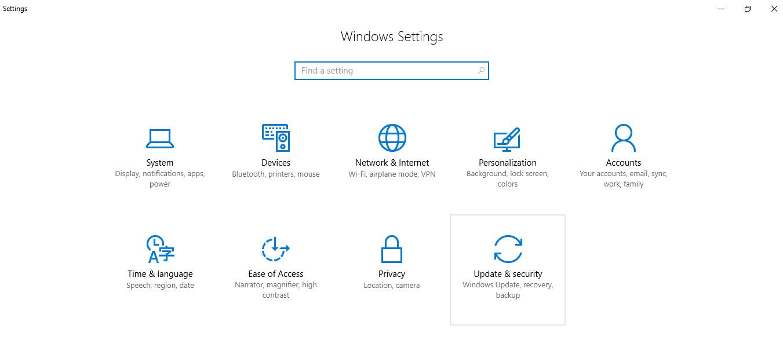رفتن به بخش update & security
