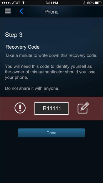 کد ریکاوری